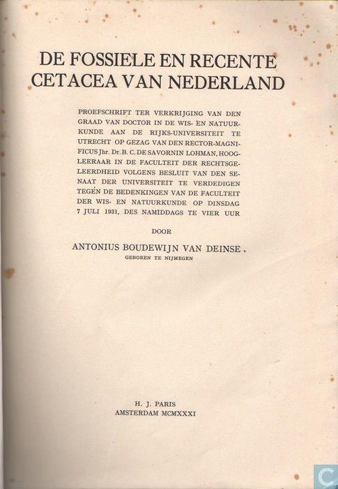 Boeken - Diversen - De fossiele en recente Cetacea van Nederland