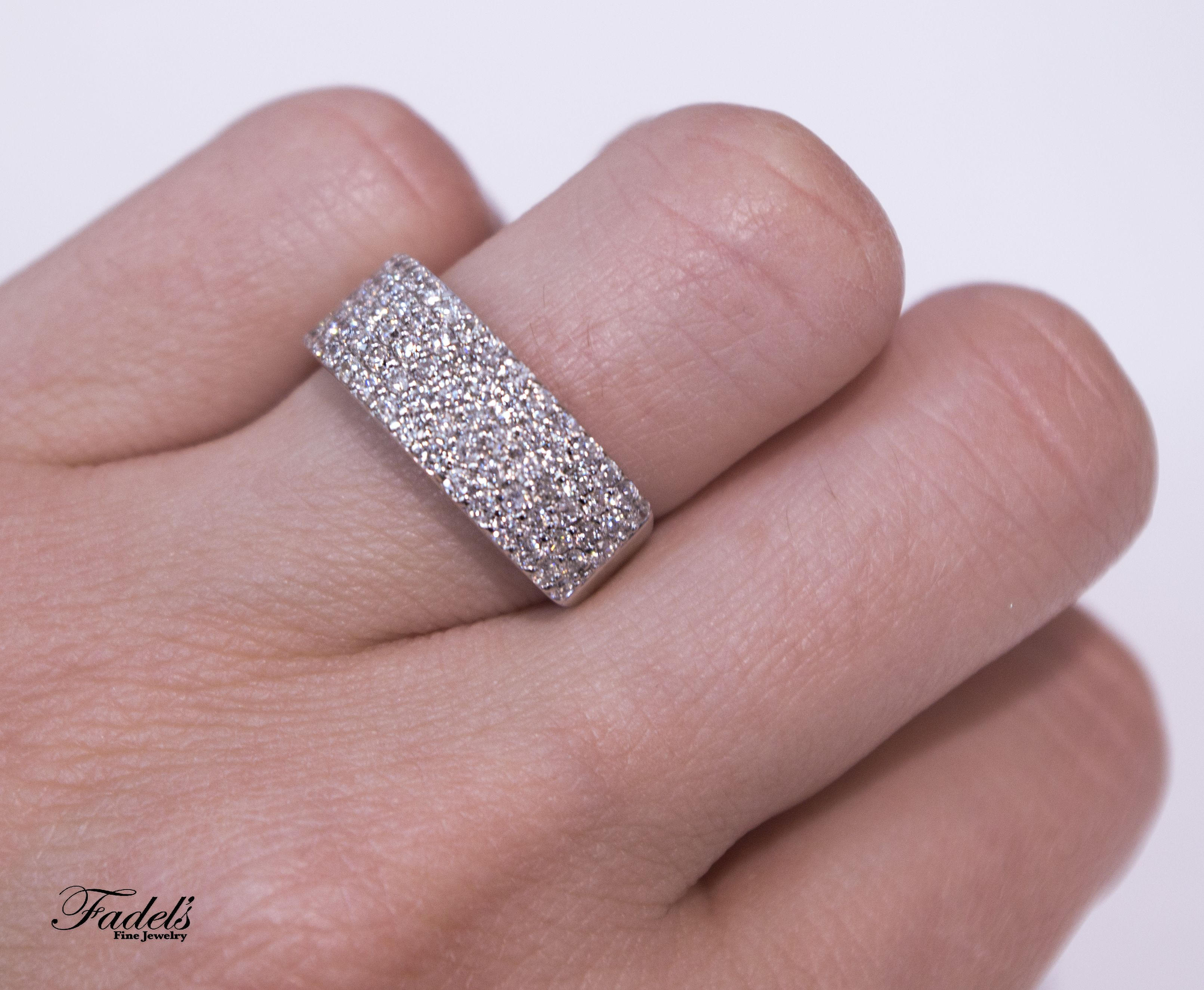 It is just a graphic of Wide Diamond Band in 42K White Gold! #Weddings #Engagements