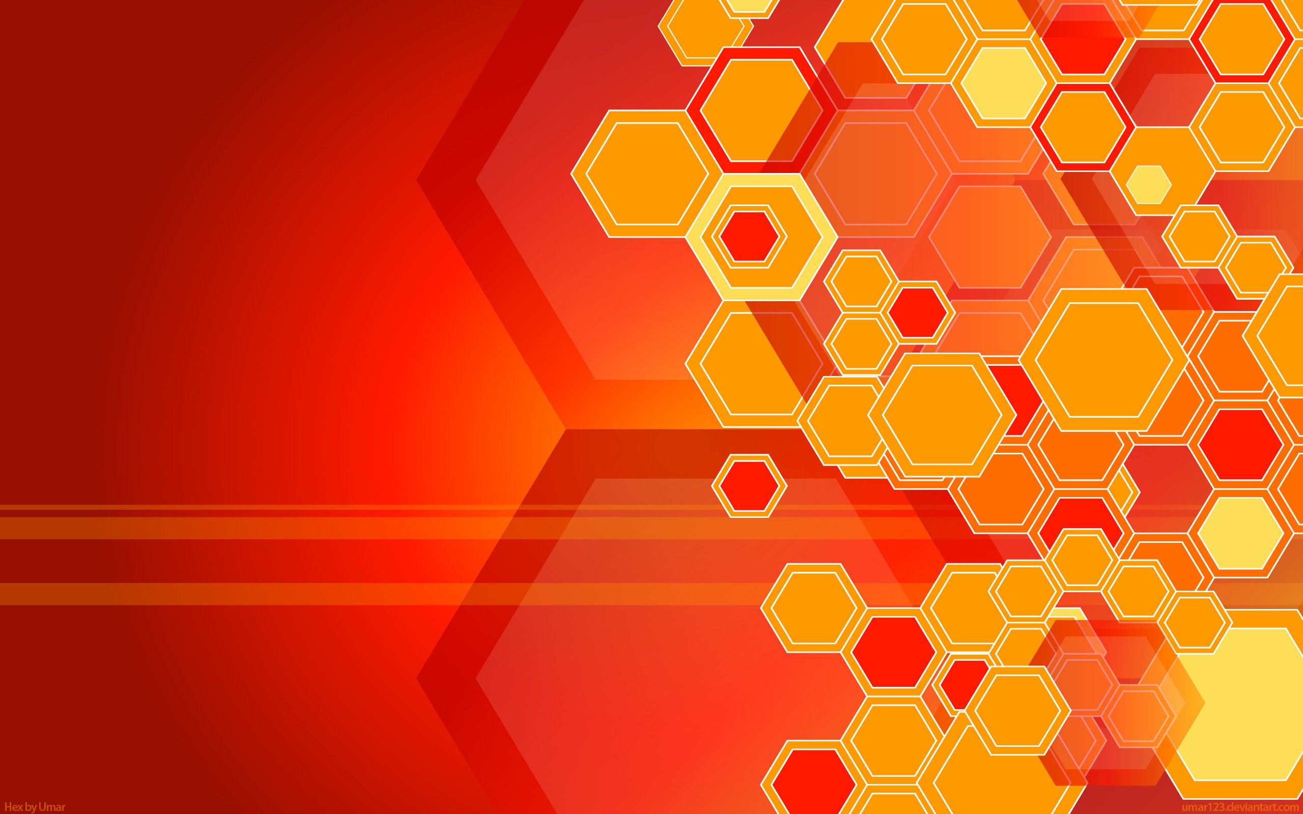 New Abstract Wallpaper With Hexagon Shape In Red And Yellow