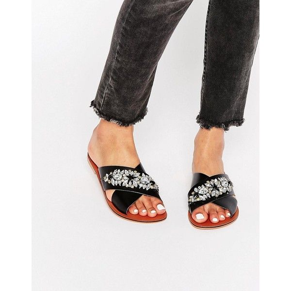 ASOS FEMI Leather Embellished Slider Sandals ($42) ❤ liked on Polyvore featuring shoes, sandals, black, black leather shoes, black strappy sandals, black strap shoes, asos sandals and strappy sandals