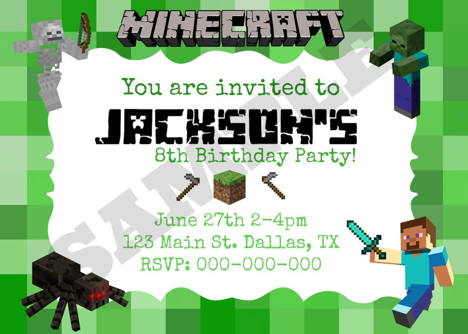 8 Best Images Of Minecraft Party Invitation Printable Template ...