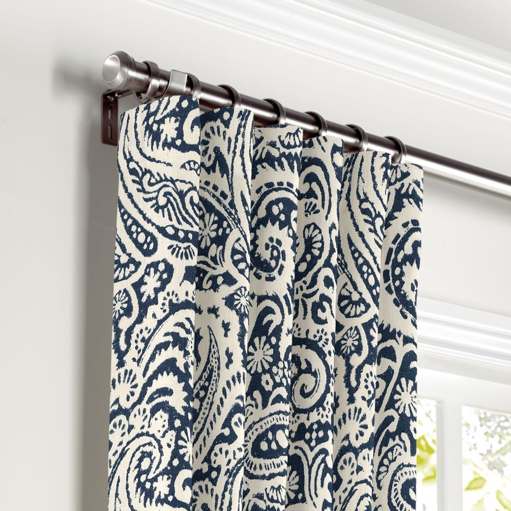White navy blue paisley curtain ring top front
