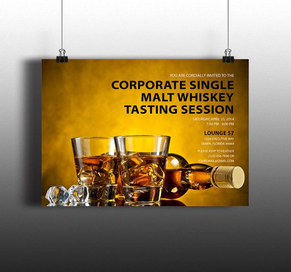 Instant Download Bourbon Whiskey Tasting Invitation By