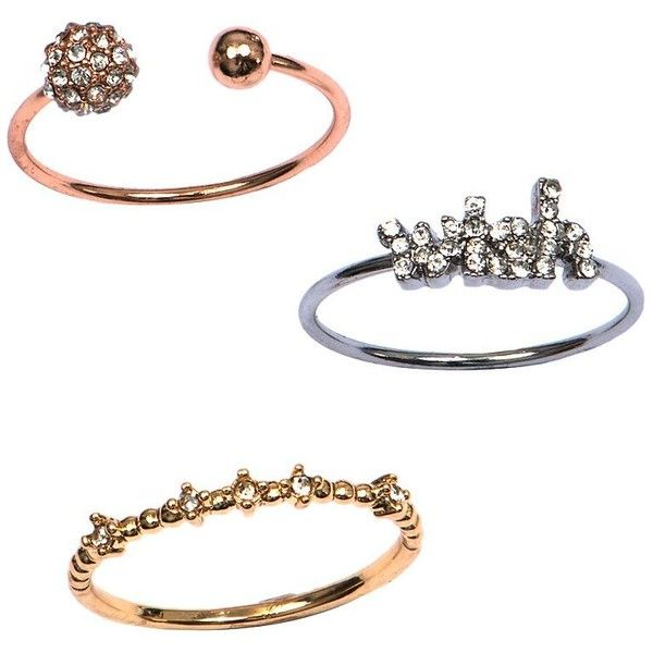 Lonna & Lilly Set of Three Wish Rings ($10) ❤ liked on Polyvore featuring jewelry, rings, gold, drusy ring, druzy ring, drusy jewelry and druzy jewelry