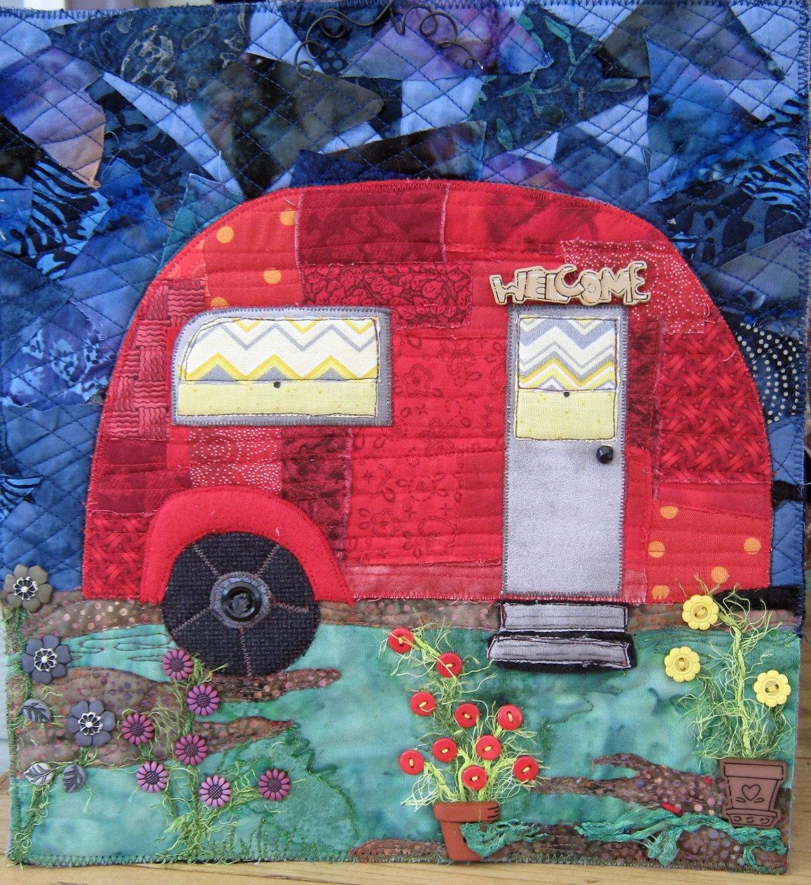 Made to Order, Quilted Wall Hanging, Vintage Camp Trailer, Art Quilt ...