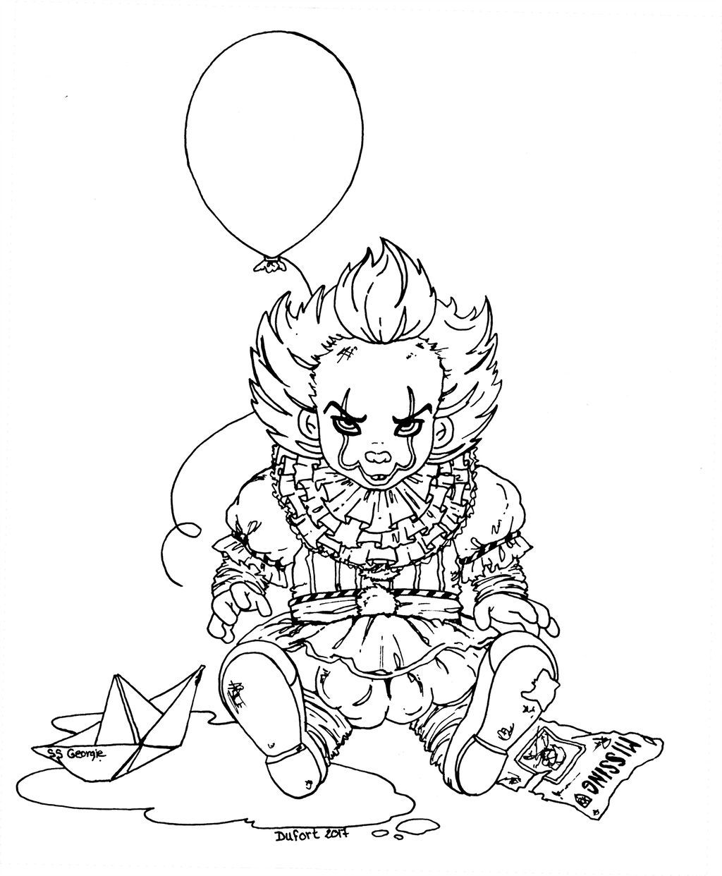 Baby Pennywise Lineart By Jadedragonne Coloring Pages Fairy Coloring Pages Disney Coloring Pages