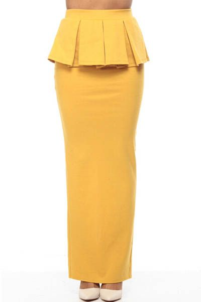 a756e1baa3f4 Yellow High Waist Slit Back Peplum Maxi Skirt #Yellow #Skirt #maykool