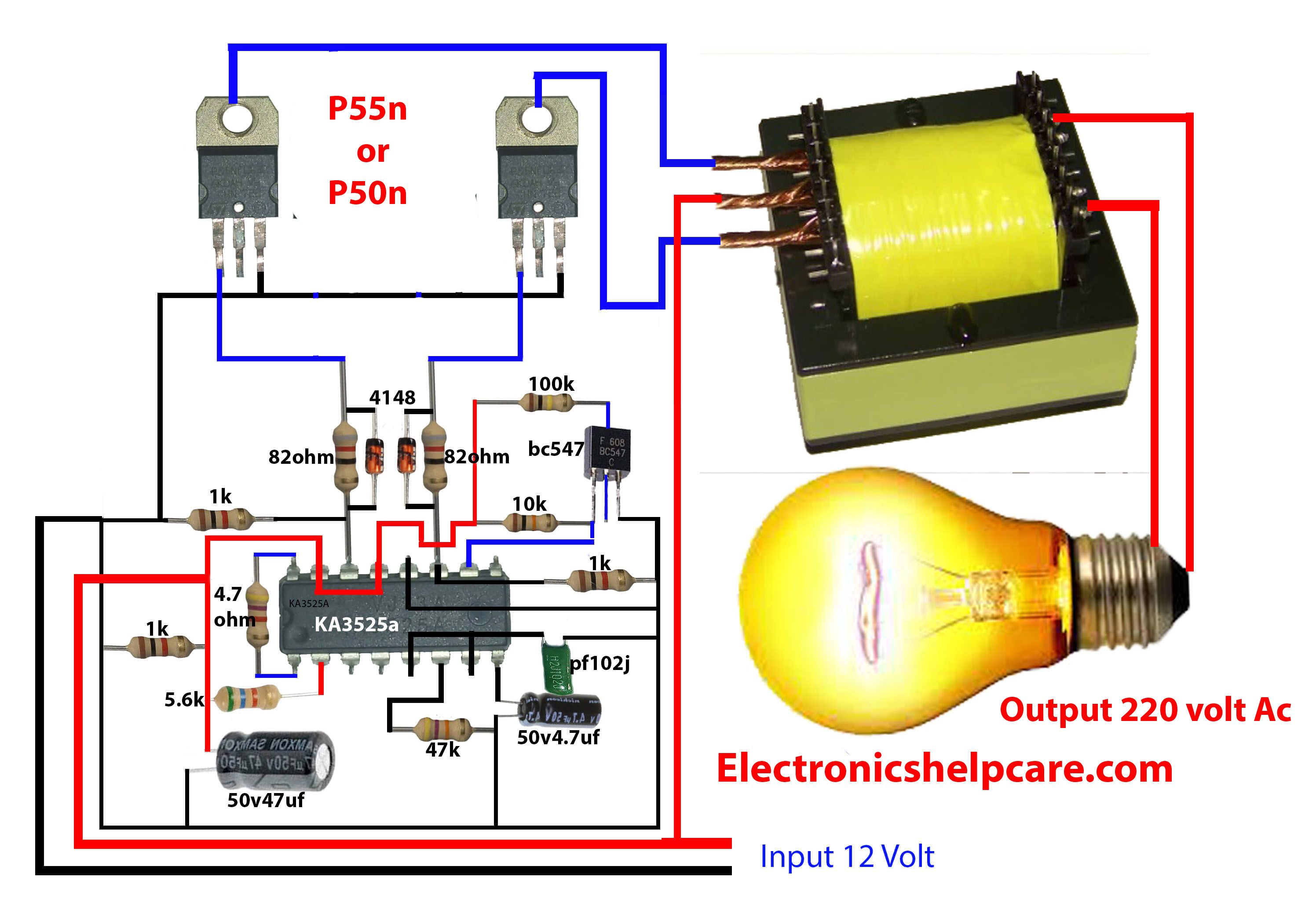 How To Make Inverter 12v Dc To 220v Ac Electronic Circuit Design Circuit Diagram Electrical Circuit Diagram
