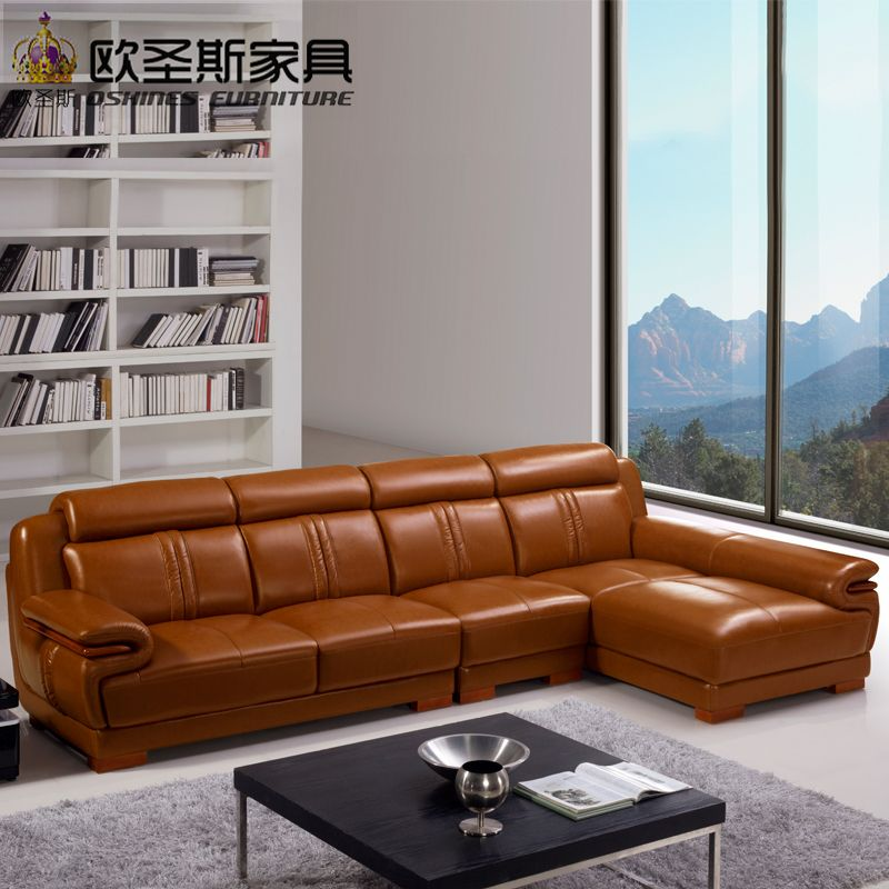 Brown Livingroom Furniture Sofa Set Designs Modern L Shape Cheap Sectional Leather Corner Sofa Set With Wood Legs Decoration 639 Interior Ruangan Kamar Pria