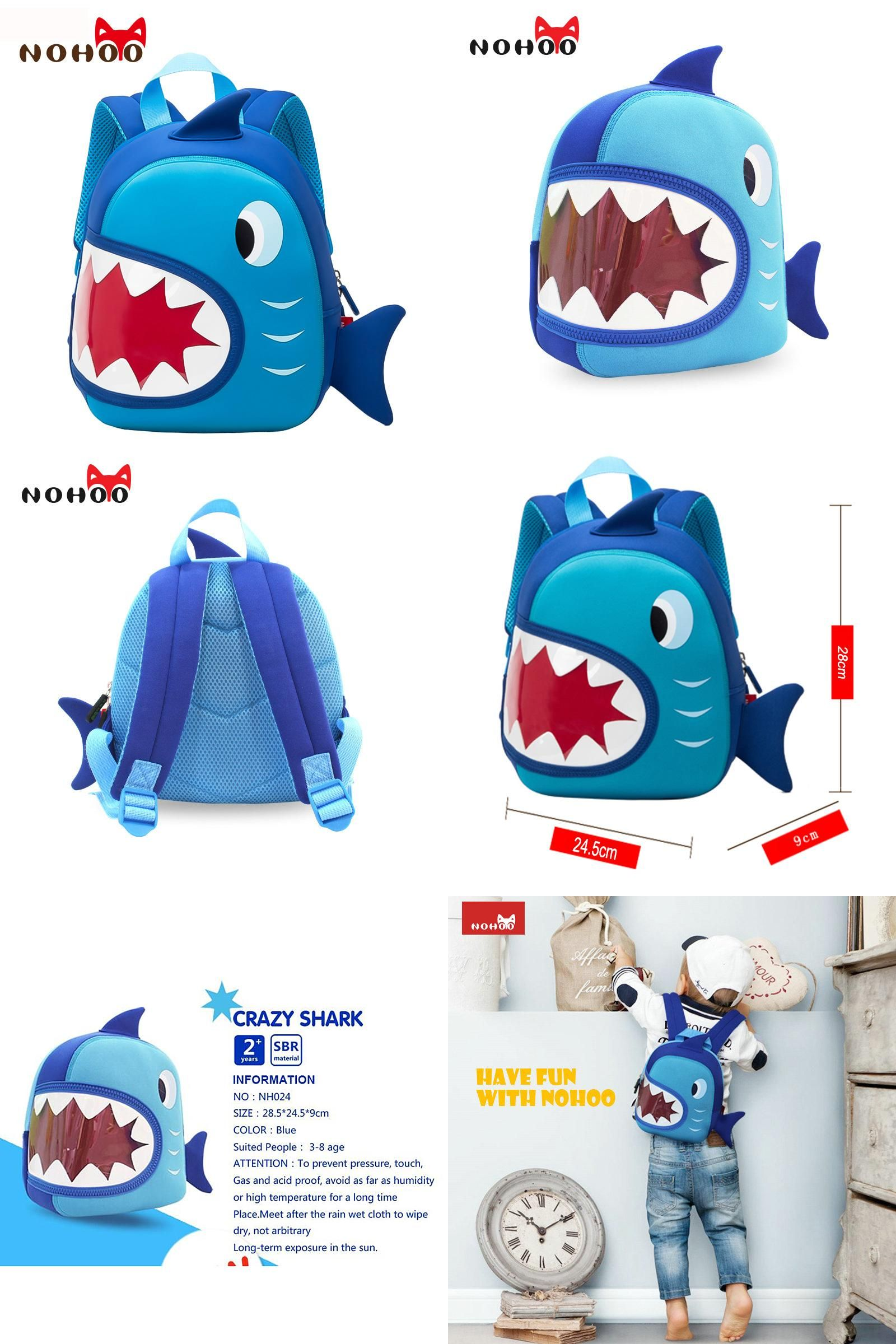 5b0e95d1d21e  Visit to Buy  NOHOO Waterproof School Bags Blue 3D Shark Kids Backpack  Cartoon Animal