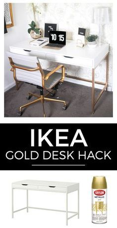 White and Gold Desk Ikea Hack is part of Gold Home Accents Ikea Hacks - How to create a white and gold desk for under $200 from Ikea in five simple, easytounderstand steps  The best Ikea hack ever!