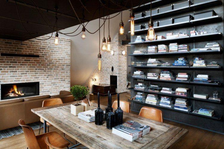 Déco loft industriel- un studio super en brique et bois à Sofia Lofts - idee de deco salle a manger