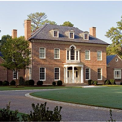 georgian large rectangular brick house with formal classical design a hipped roof - Georgian House Designs