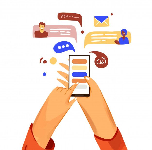 Hand With Phone Cartoon Illustration. Smartphone With ...