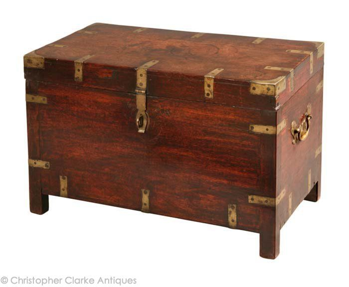 Perfect Padouk Anglo Indian Trunk, Early Century   (h) X (w) X (d)   Christopher  Clarke Antiques
