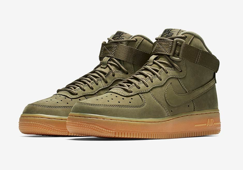 new products 2cd84 6ccc1  sneakers  news The Nike Air Force 1 High Arrives For Kids In Olive Nubuck  and Gum