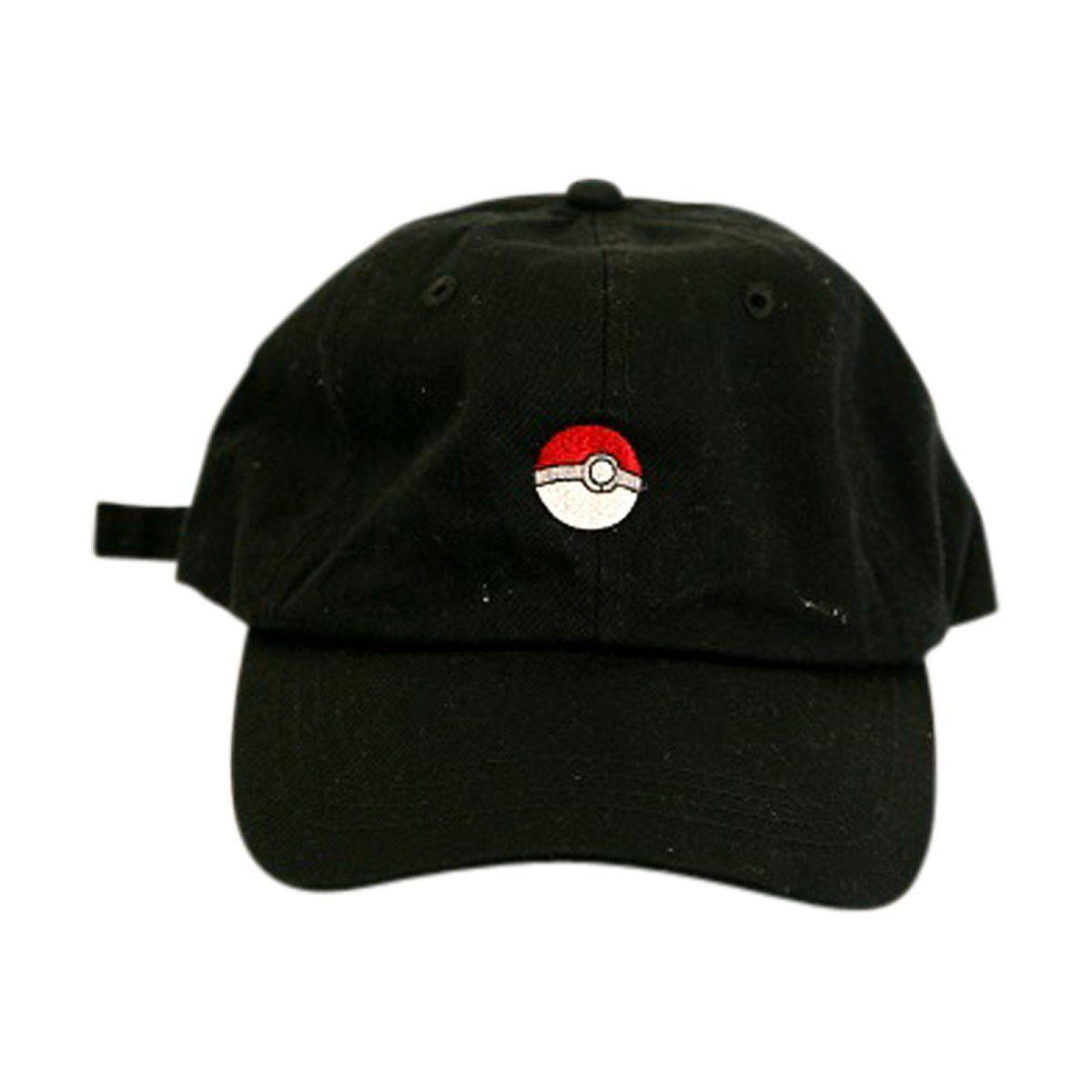 f735ac1effd07 Top Culture - Men s Pokemon Ball Dad Hat - Black