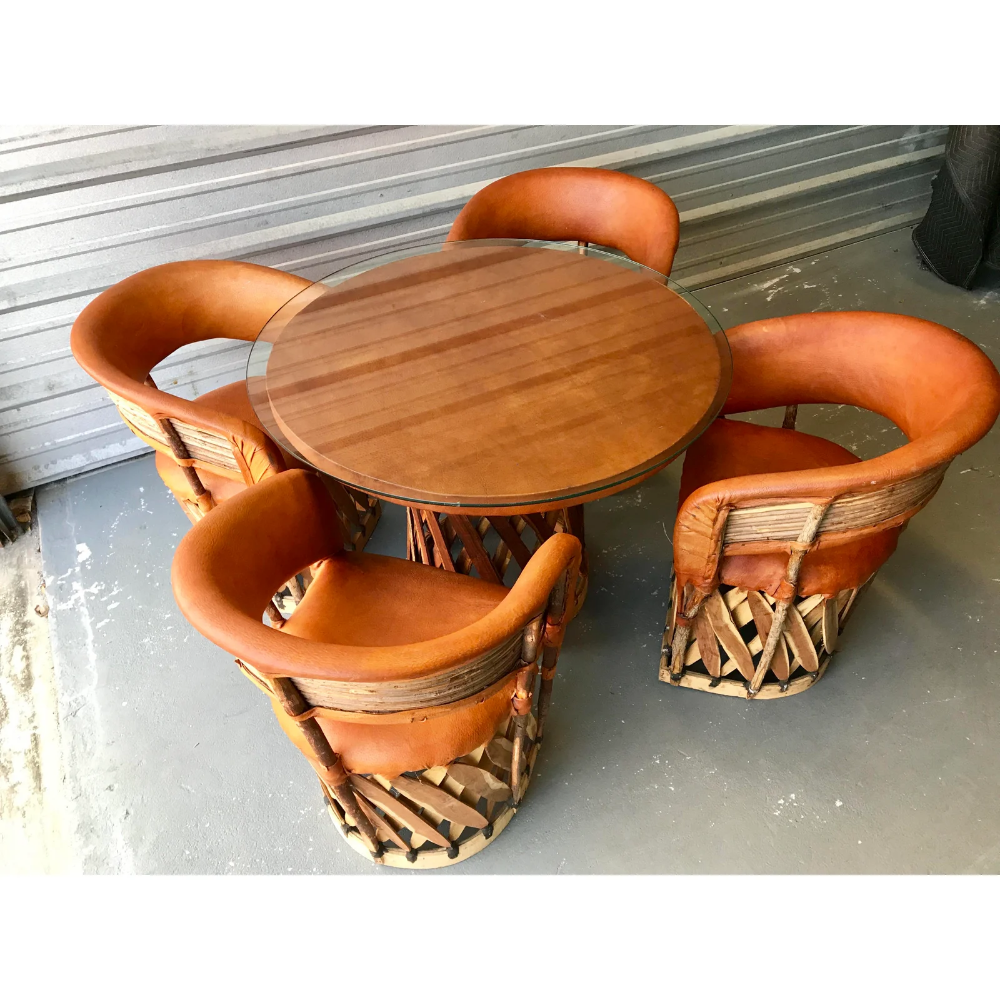 Vintage Mexican Equipale 4 Leather Barrel Chairs Table Patio