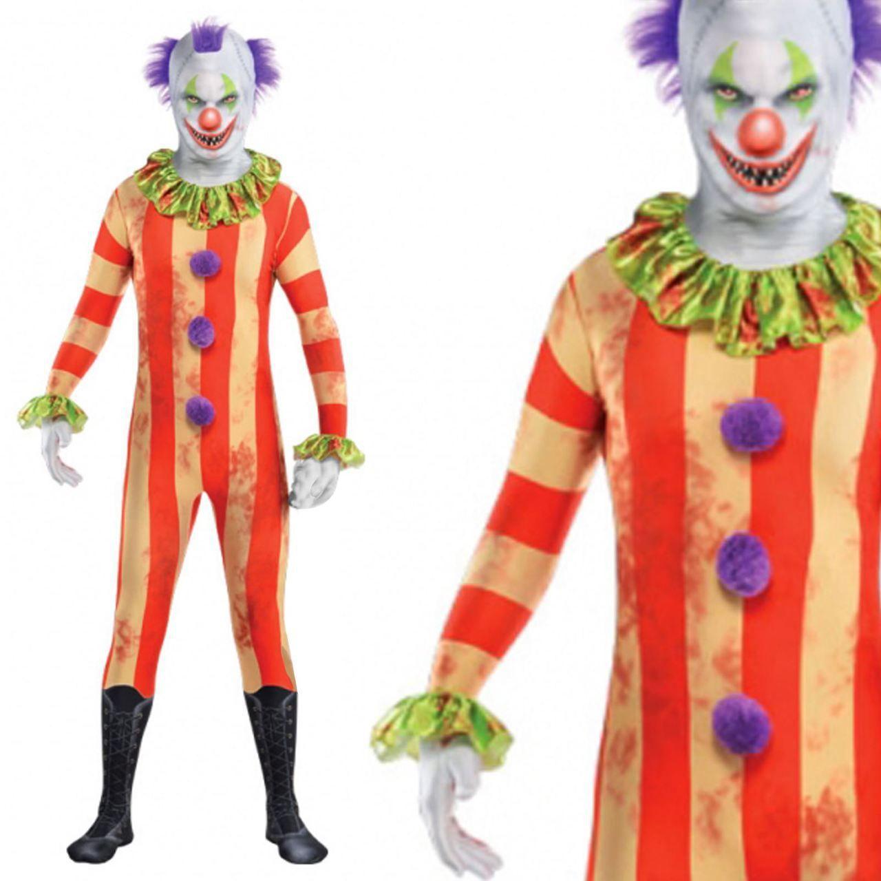 Adults Circus Killer Clown Party Suit Fancy Dress Costume | Clown ...