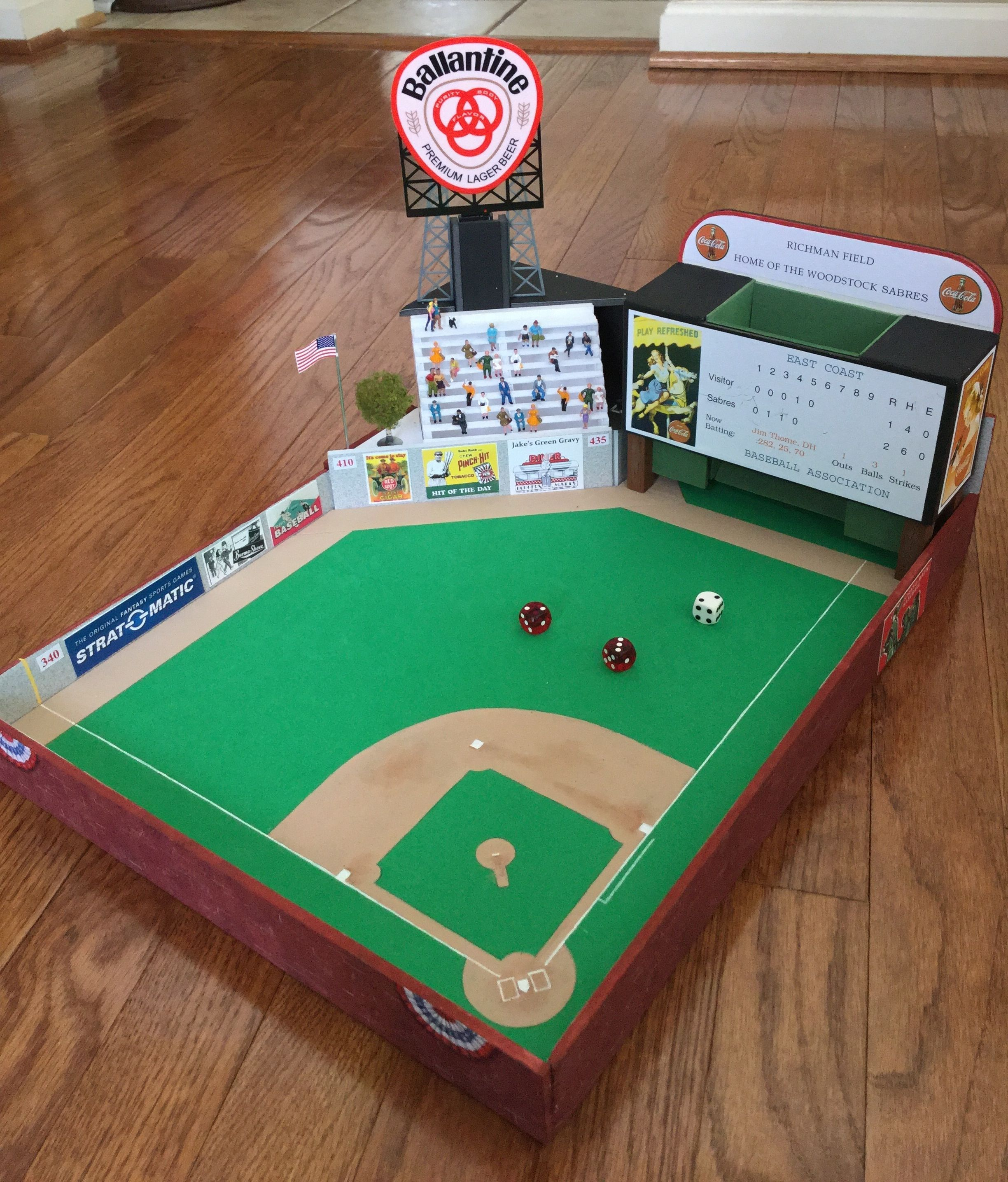 a close up of woodstock field the customized strat o matic