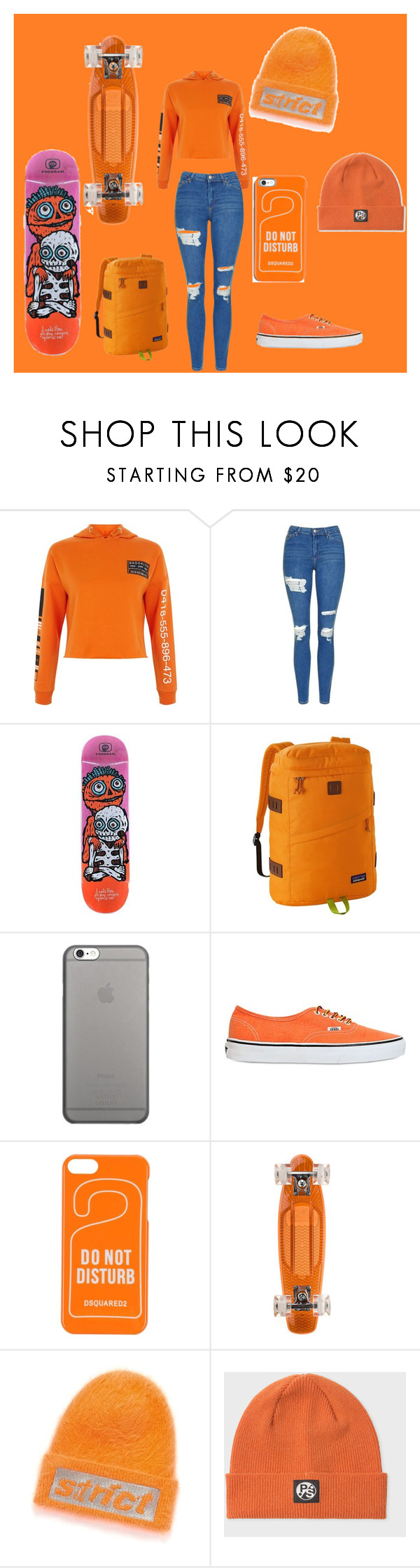 """orange"" by rihababy on Polyvore featuring New Look, Topshop, Patagonia, Native Union, Vans, Dsquared2, Sunset Skateboards, Alexander Wang and PS Paul Smith"