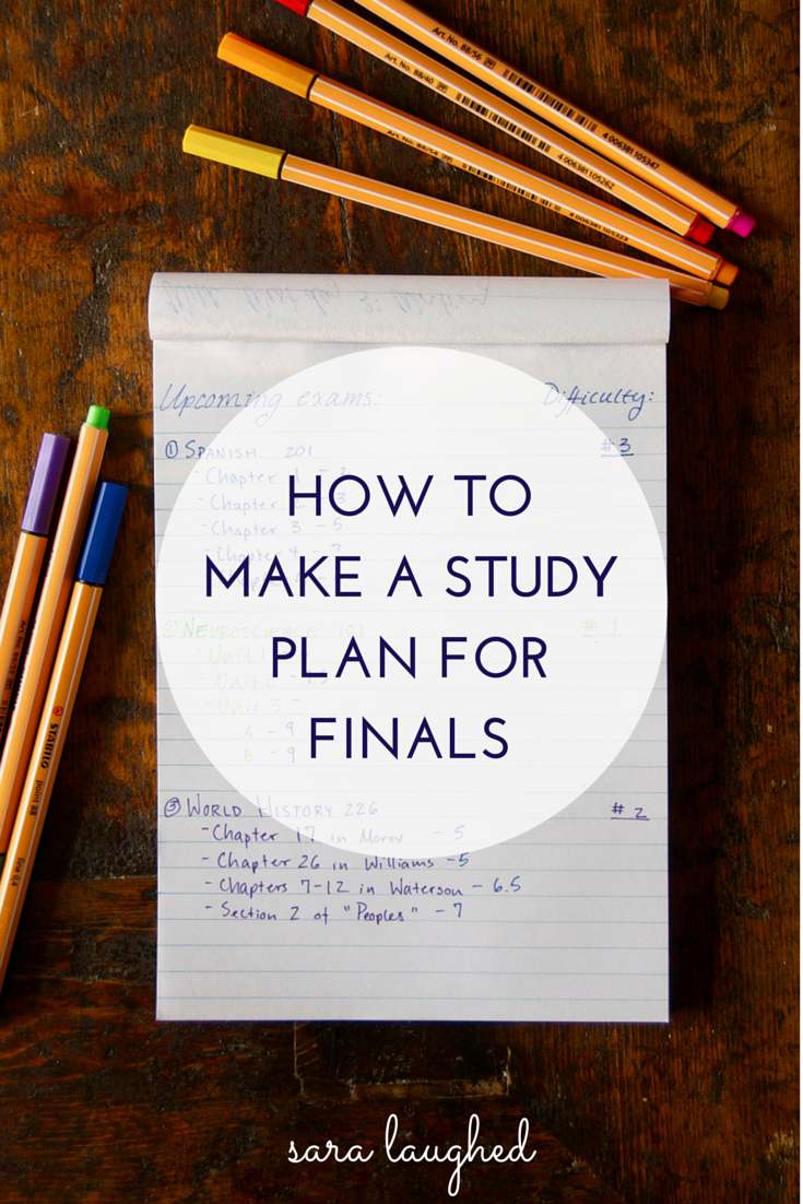 how to make a study plan for finals