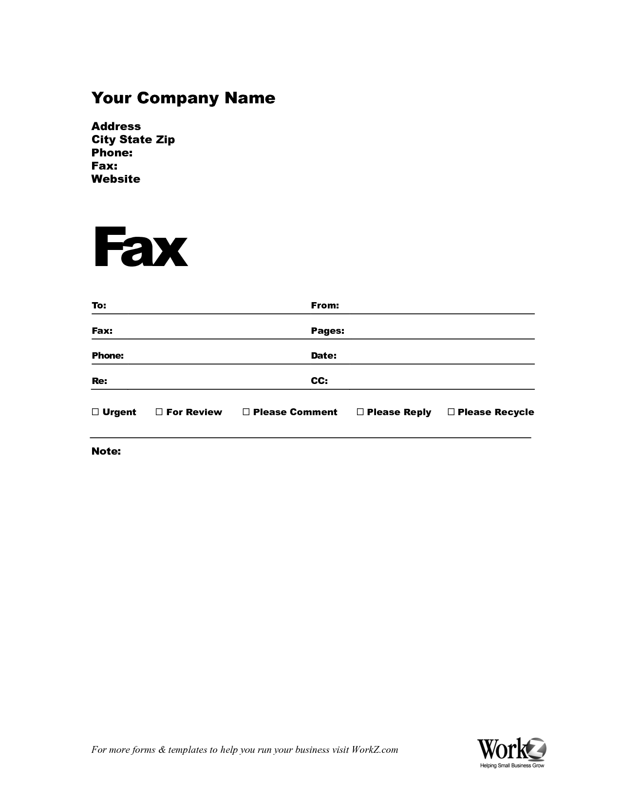Fieldstation.co  Fax Cover Template Word