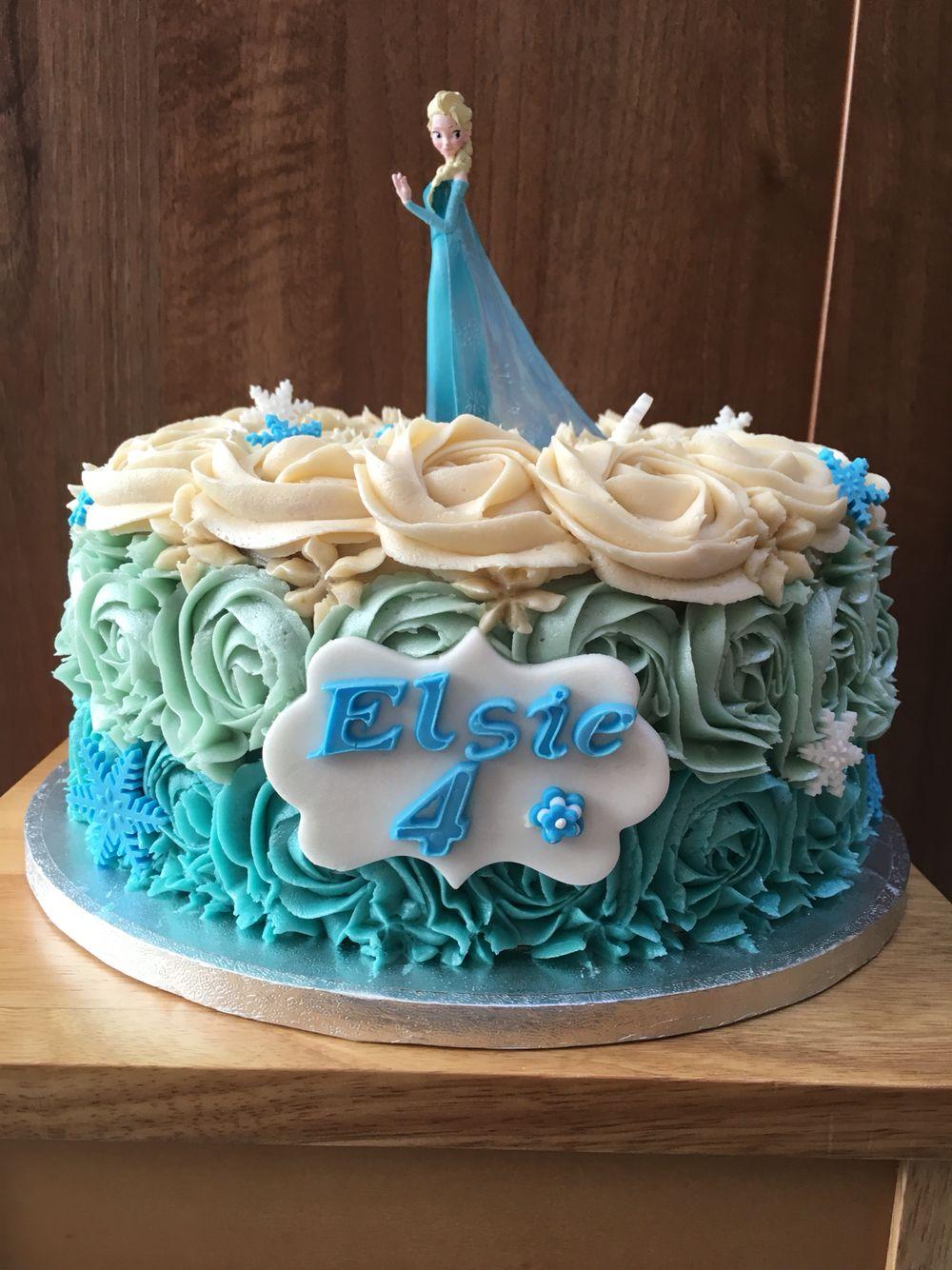 Simple Rose Swirl Rosette Ombre Frozen Elsa Blue Single Tier