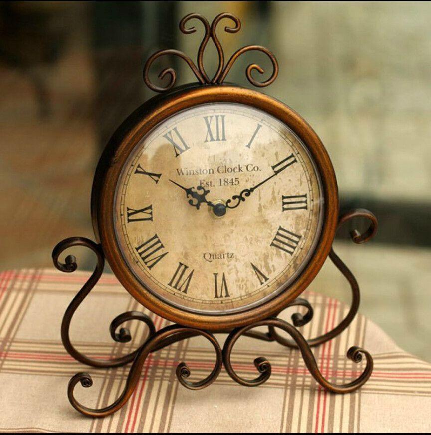 Lovely Elegant Vintage European Style Wrought Iron Table Clock