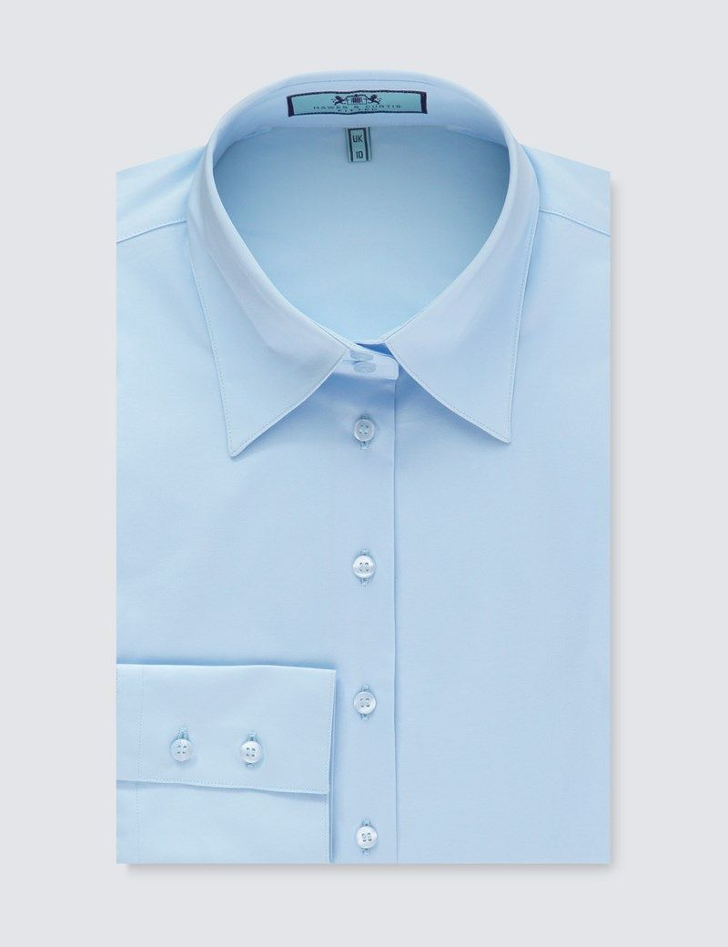 75a0f3d5845 Women s Ice Blue Fitted Vintage Hipster Shirt with High Long Collar - Single  Cuff