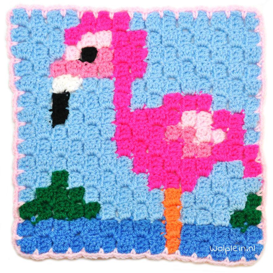 Corner To Corner Haken Patroon.Corner To Corner Haken Een Vrolijke Flamingo Crochet Haken