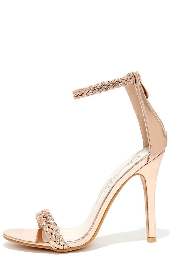 1e48dc68346 Braid for Each Other Rose Gold Ankle Strap Heels in 2019