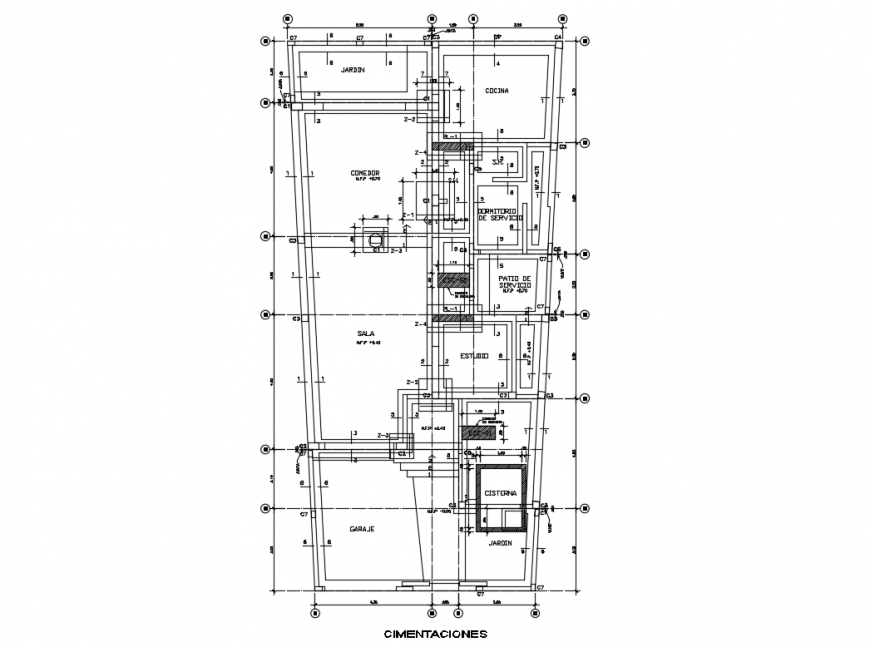 Residential house foundation plan and constructive structure details dwg file
