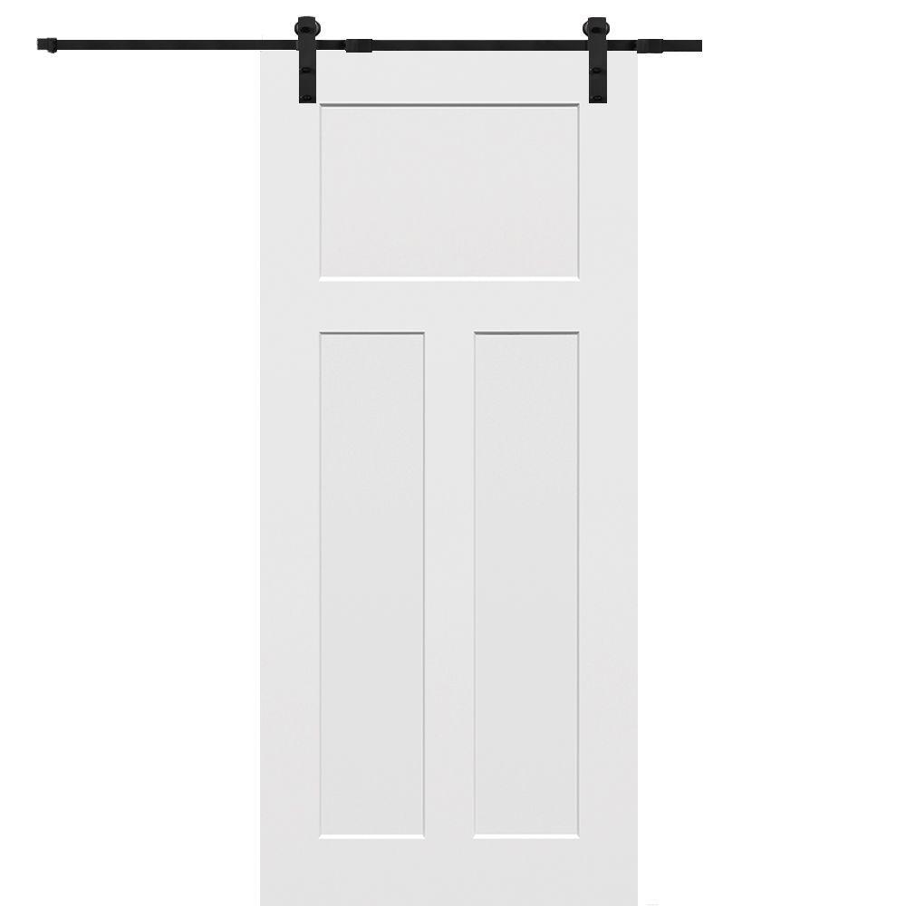 Mmi Door 32 In X 80 In Primed Composite Craftsman Smooth Surface Solid Core Sliding Barn Door With Hardware Kit Z009546 Sliding Door Hardware Interior Barn Doors Double Sliding Barn Doors