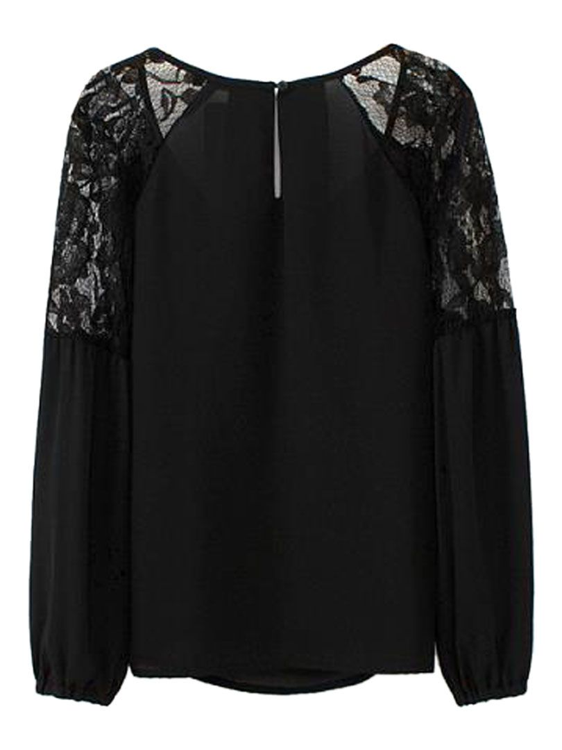 8b3ec21252b52f Buy Black Lace Top Long Sleeve Chiffon Blouse from abaday.com, FREE shipping  Worldwide - Fashion Clothing, Latest Street Fashion At Abaday.com