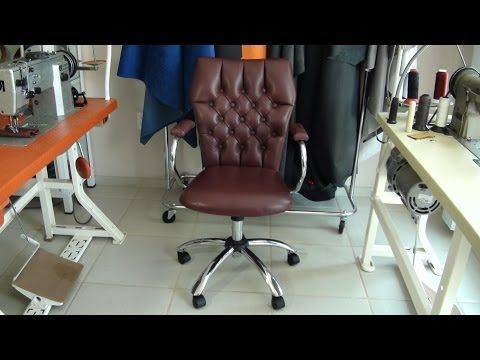 LEATHER UPHOLSTERY An Old Used Office Chair Recovered In Leather