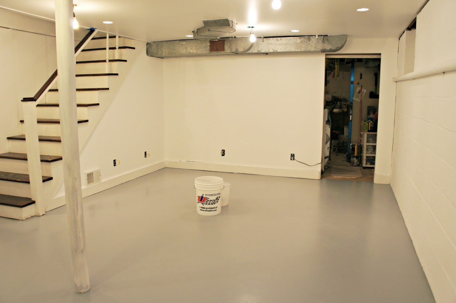 Solvent Based Epoxy Paint For Basement Floor Stairs With Black Wood Panels Best Flooring For Basement Basement Flooring Options Painting Basement Floors