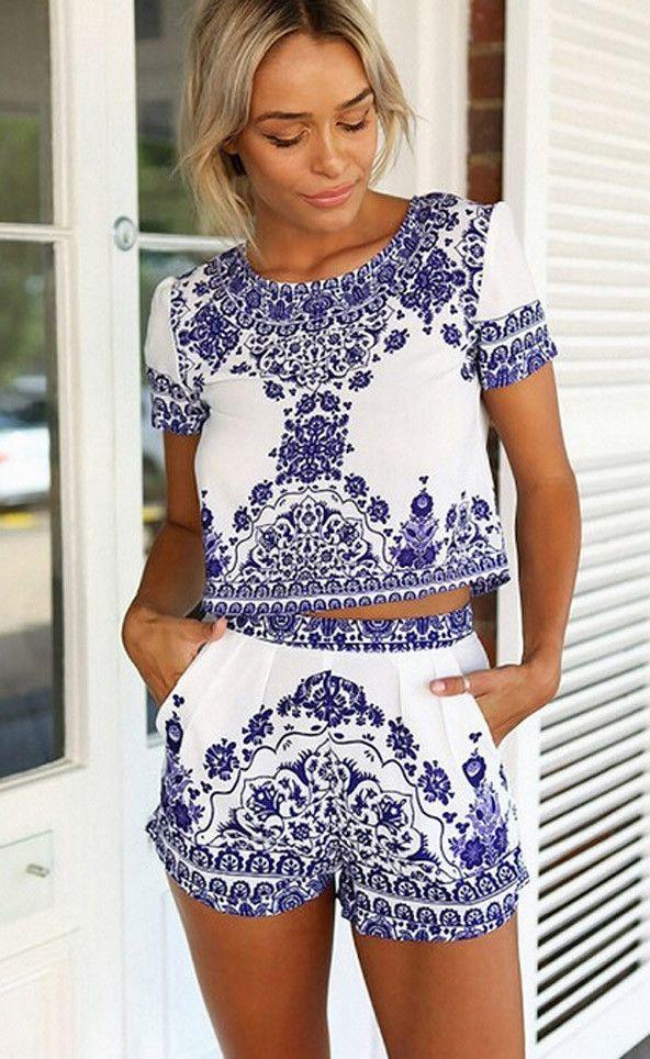 532be3894b1bd ... Tops + Shorts Set. Porcelain Inspired Floral Matching Sets - Jassie  Line - 4