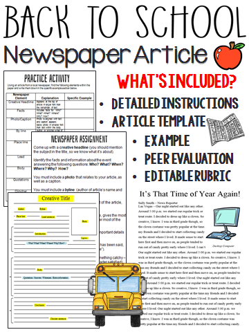 Back To School Writing Activity Newspaper Article Newspaper
