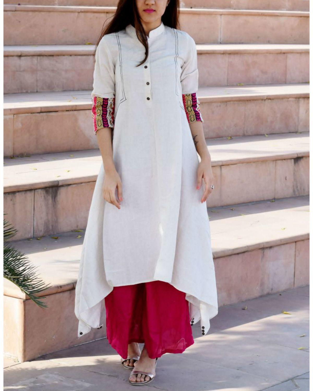 White embroidered boho tunic | ◇ Stylista : Salwars/ churidars n ...