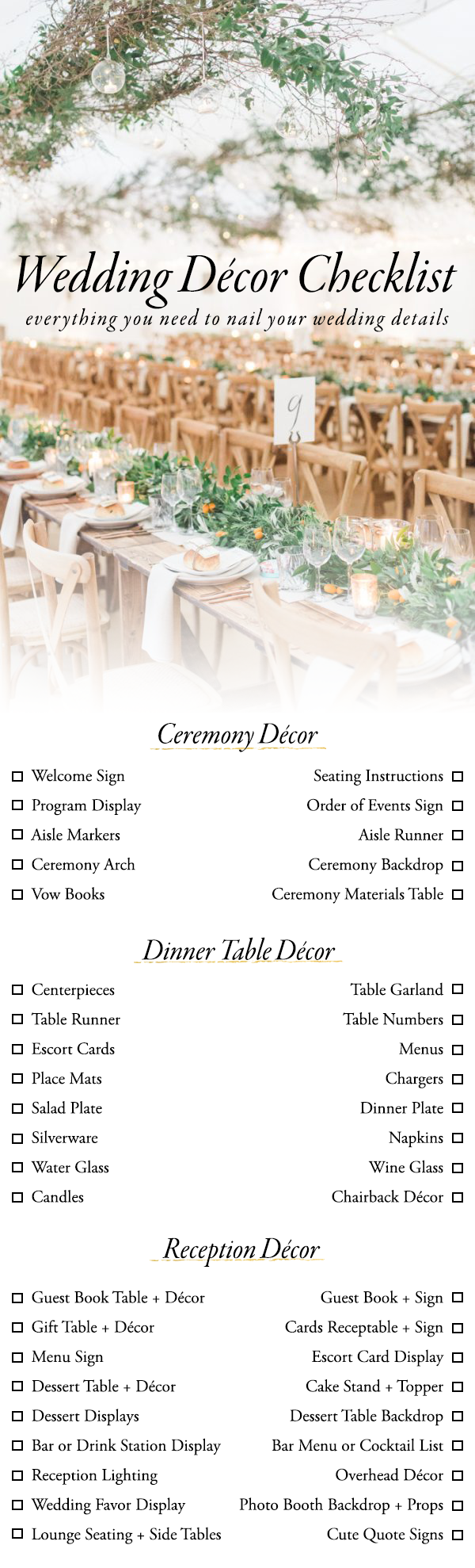 Wedding decor images  Use This Wedding Décor Checklist to Help You Nail Every Detail