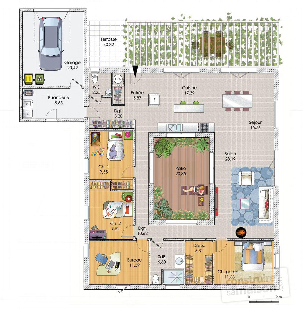 Plan Habillé Rdc   Maison   Une Grande Maison De Plain Pied