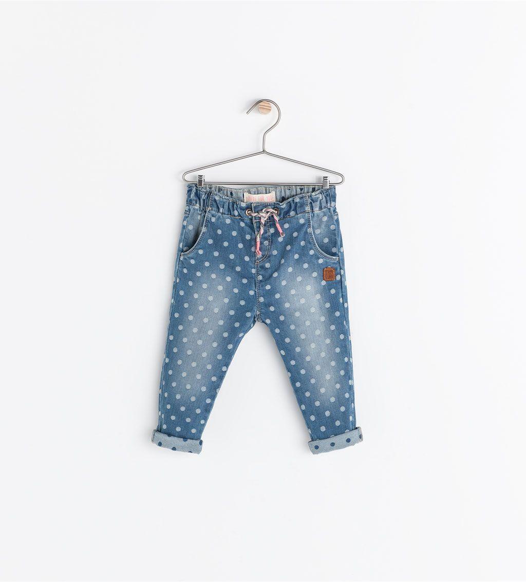 68d13e4f POLKA DOT JEANS WITH ELASTIC WAIST from Zara Fashion Kids, Toddler Fashion,  Girl Fashion
