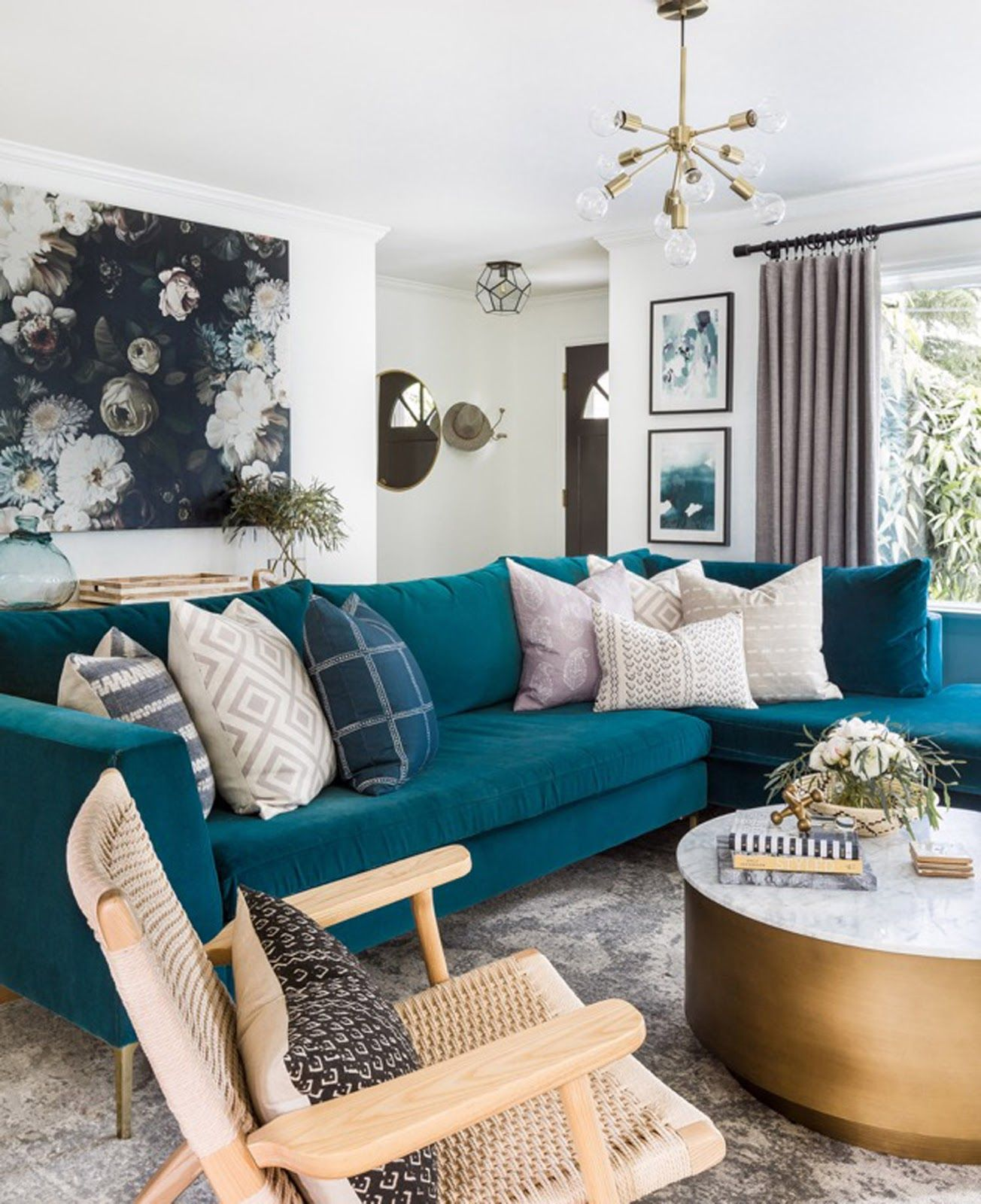 A Stylish Glam Seattle Home Tour Teal Living Rooms Teal