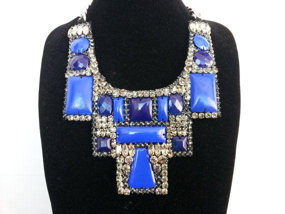 Statement collar necklace with rhinestone and Swarovski by IvMiro