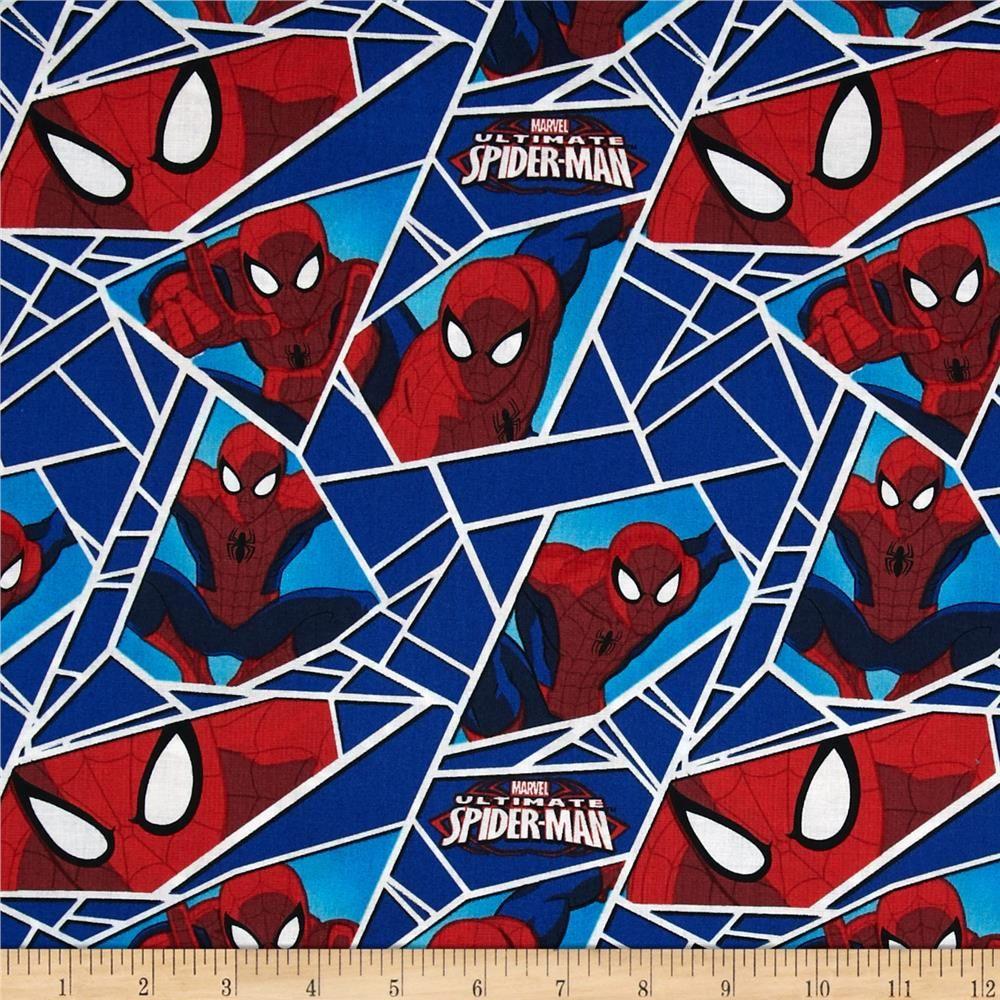 Marvel Ultimate Spiderman Superhero Shards Blue Cotton Fabric Yard