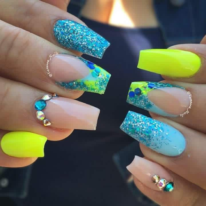 Neon Green And Blue Nails Nail Designs Glitter Green Nails