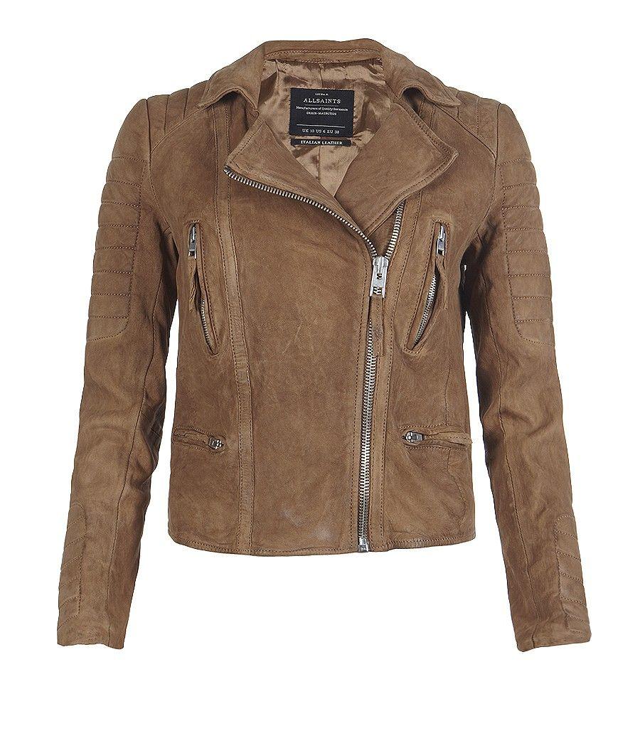 5777f625b Allsaints tan leather biker jacket | Wish List | Jackets, Leather ...