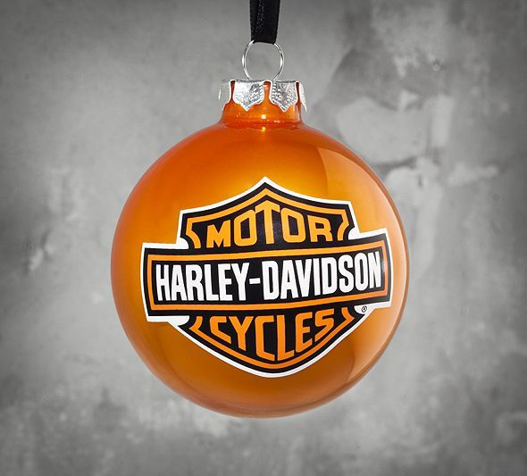 Harley Davidson Motorcycle Bar Shield Logo Neon Table Or: Orange Bar & Shield Logo Ornament