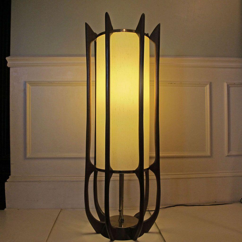 Mid Century Modern Lamp Danish Goliath Teak Brass Sculptural From  Mcmoderngoddess On Ruby Lane